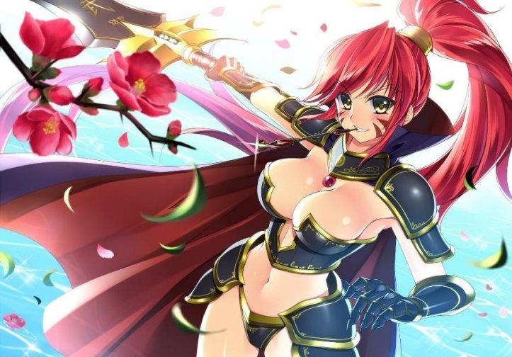 anime_girl_armor_breasts_cleavage_nobunaga_oda_petals_ponytail_red_hair_sword_tattoo_1024x1024