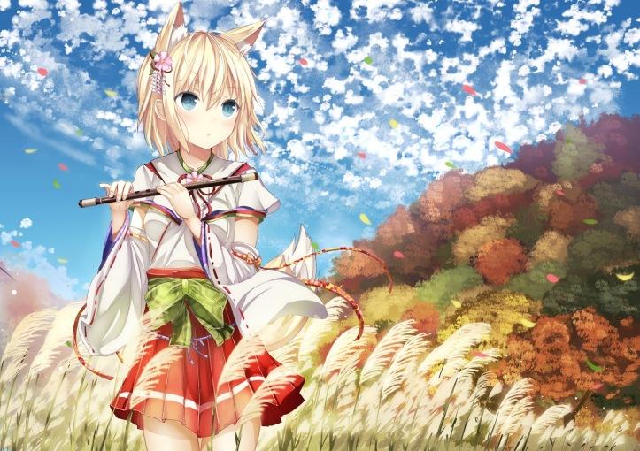 Konachan.com - 169934 animal_ears blonde_hair blue_eyes bow flute foxgirl grass instrument japanese_clothes miko morerin original petals ribbons short_hair skirt tail